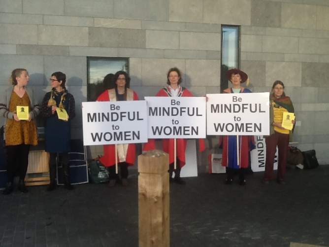Three NUI Galway lecturers were among the protesters handing out leaflets at the university's Mindful Way conference on Friday, Oct. 9th.